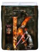 Steampunk - Alphabet - K Is For Killer Robots Duvet Cover