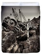 Steampunk Land Boring Machine At Disneysea Black And White Duvet Cover