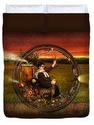 Steampunk - The Gentleman's Monowheel Duvet Cover by Mike Savad