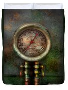 Steampunk - Train - Brake Cylinder Pressure  Duvet Cover by Mike Savad