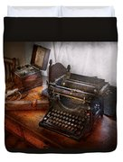 Steampunk - Typewriter - The Secret Messenger  Duvet Cover by Mike Savad
