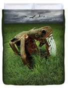 Steel Auto Carcass With Vultures Duvet Cover