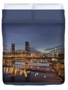 Steel Bridge Over Willamette River At Blue Hour Duvet Cover