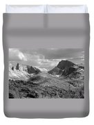 109629-bw-steeple And Temple Peaks, Wind Rivers Duvet Cover