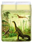 Stegosaurus And Compsognathus Dinosaurs Duvet Cover