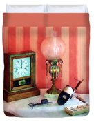 Stereopticon Lamp And Clock Duvet Cover