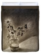 Still Life Ceramic Pitcher With Three Sunflowers Duvet Cover