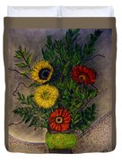 Still Life Ceramic Vase With Two Gerbera Daisy And Two Sunflowers Duvet Cover