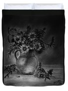 Still Life Clay Pitcher With 13 Daisies Duvet Cover