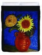 Still Life Clay Vase With Two Sunflowers Duvet Cover