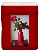 Still Life Flower Study In Red Duvet Cover