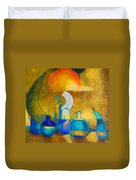 Still Life In Ocher And Blue Duvet Cover