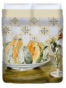 Still Life Of A Melon And A Vase Of Flowers Duvet Cover
