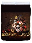 Still Life Of A Vase Of Flowers Duvet Cover