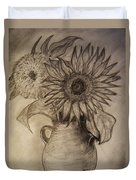 Still Life Two Sunflowers In A Clay Vase Duvet Cover