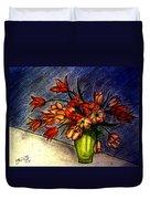 Still Life Vase With 21 Orange Tulips Duvet Cover