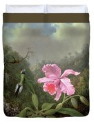 Still Life With An Orchid And A Pair Of Hummingbirds Duvet Cover by Martin Johnson Heade