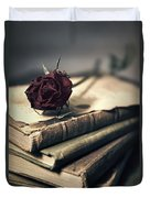 Still Life With Books And Dry Red Rose Duvet Cover