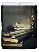 Still Life With Books And Roses Duvet Cover