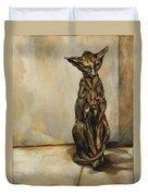 Still Life With Cat Sculpture Duvet Cover