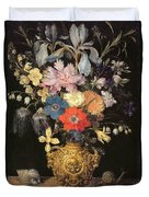 Still Life With Flowers, C.1604 Duvet Cover by Georg Flegel