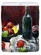 Still Life With Fruits And Wine Duvet Cover