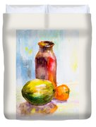 Still Life With Jug And Fruit Duvet Cover