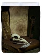 Still Life With Old Books Rusty Key Bird Skull And Feathers Duvet Cover