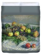 Still Life With Pears And Grapes Duvet Cover