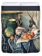 Still Life With Pitcher And Aubergines Oil On Canvas Duvet Cover