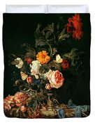 Still Life With Poppies And Roses Duvet Cover