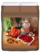 Still Life With Raspberries And Apples Duvet Cover