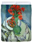 Still Life With Seagulls Poppies And Strawberries Duvet Cover