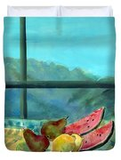Still Life With Watermelon Oil & Acrylic On Canvas Duvet Cover