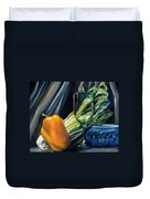 Still Life With Yellow Pepper Bok Choy Glass And Dish Duvet Cover