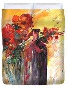 Still Live With Flowers Vase And Black Bottle Duvet Cover