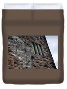 Stone Building Facade With Trefoil Window And Carved Detail Duvet Cover
