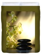 Stone Cairn And Orchids Duvet Cover