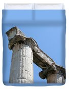 Stone Carved Columns At The Temple Of Aphrodite  Duvet Cover