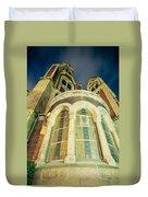 Stone Church Exterior Facade Windows At Night Duvet Cover