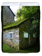 Stone House With Mossy Roof Duvet Cover