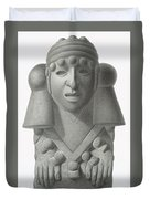 Stone Idol Of The Rain God Cocijo Duvet Cover