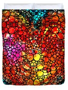 Stone Rock'd Heart - Colorful Love From Sharon Cummings Duvet Cover