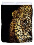 Stone Rock'd Lion - Sharon Cummings Duvet Cover by Sharon Cummings