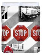 Stop For Students Painterly Bw Red Signs Duvet Cover