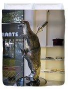 Store Window Art On Champs Elysees In Paris France Duvet Cover