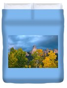 Storm Clouds Over Chimney Rock Duvet Cover