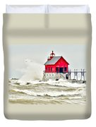 Stormy At Grand Haven Light Duvet Cover