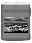 Stormy Coast New Zealand In Black And White Duvet Cover