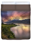 Stormy Sunset Over Columbia River Gorge At Hood River Duvet Cover
